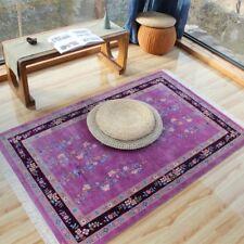 YILONG 4'x6' Purple Chinese Art Deco Handmade Silk Carpet Rose Butterfly Rug