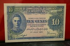 Malaya KGVI 10 Cents 1941  UNC