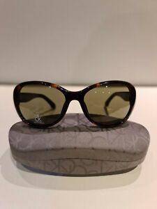 BRAND NEW TORTOISE SHELL CALVIN KLEIN WOMENS SUNGLASSES WITH CASE AND CLOTH