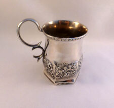 Sam Kirk 10:15 Coin Silver Repousse Decorated Handled Cup-4""