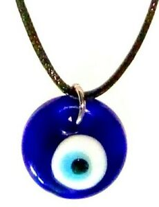 GREEK / TURKISH EVIL EYE Lucky Charm Amulet Teardrop Blue Glass Necklace 25mm