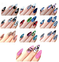 STILETTO POINT FALSE NAILS TIPS CHOICE OF  PATTERN DESIGN NAIL TIP BLUE BEIGE