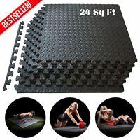 24SQFT GYM RUBBER FLOORING Interlocking Tiles Garage Fitness Exercise Floor Mat