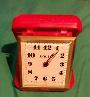 Vintage Equity Folding Travel Wind Up Alarm Clock Red Plastic Case Time *tested