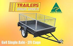 6x4 Light Duty Box Trailer - Smooth Floor - 600kg GVM - 2ft cage - Aussie Made