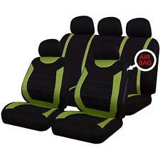 9 PCE Sports Carnaby Green/Black Full Set Car Seat Covers For All Vauxhall Model