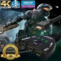 Fosmon 3x1 3 Port 4K UHD HD TV 3D Compact Auto HDMI Switch Hub Splitter Adapter
