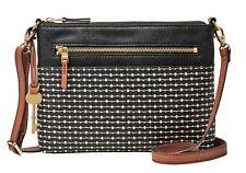 FOSSIL Fiona E / W Crossbody Umhängetasche Tasche Black Stripe Schwarz Weiß Neu