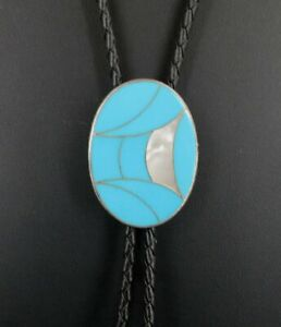 Bolo Tie Silver Turquoise with Mother of Pearl Inlays Sterling Slide Silver Ends