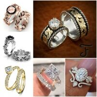 Fashion Women Jewelry 925 Silver White Sapphire Engagement Wedding Ring Set