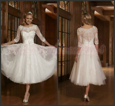 50s 60s Vintage Lace Short Wedding Dress Bridal Gowns 3/4 Sleeves Size 10 12 14