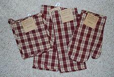 SET 4/KITCHEN TOWELS/POTHOLDER/MITT COUNTRY RED/ BURGUNDY/COTTON  PLAID/NWT
