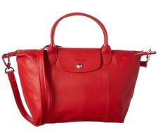 NWT LONGCHAMP Le Pliage Cuir Small Leather Crossbody Bag Cherry Red FRANCE Made
