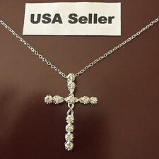 New Women's Cross Charm Necklace 925 Sterling Silver