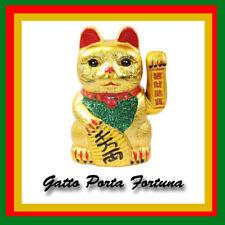 Gatto Cinese Portafortuna Dorato Zampa che si Muove Braccio H. 17,5 cm.