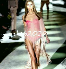 Gucci Tom Ford Off The Shoulder Chiffon ChainMail Fringe Cover-up Kaftan Flesh