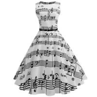 Womens Musical Note Print Bodycon Sleeveless Evening Party Prom Swing Midi Dress