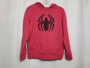 Kids Boys Large Marvel Red Spiderman Hoodie Sweatshirt Jacket