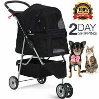 Pet Stroller Cat Dog Cage 3 Wheels Jogger Stroller Travel Folding Carrier Black