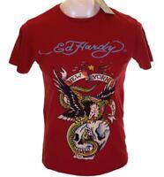 Bnwt Authentic Men's Ed Hardy Rhinestone Platinum NYC Globe T Shirt New Small