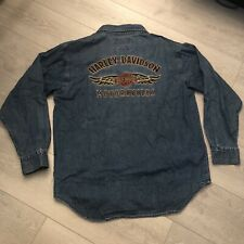 Harley Davidson Mens An American Legend Denim Jean Jacket Embroidered Size L