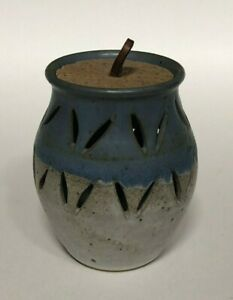 Handmade Ceramic Vented Garlic Jar Pottery with Cork Lid Signed 5 3/8""