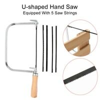 Light Steel Metal Frame Coping Saw with 5 Assorted Blades Wooden Handle New