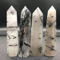 8-9cm Natural Black Tourmaline Crystal Obelisk Quartz Point Healing Specimen 1pc