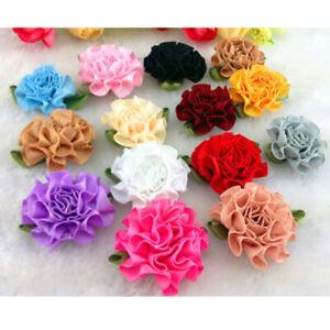 10-80Pcs Flower Ribbon Leave Embellishment Carnation Rose craft/wedding