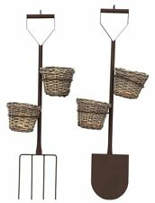 Double Wicker Basket Plant Pot Metal Planter Holder Hanging Display