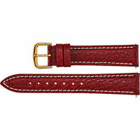 Red Leather Watch Band Calf Padded 20mm Long Men's 15306202 2-Strap EZ Change