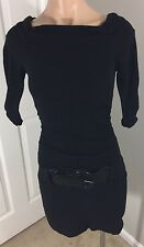 Speechless Black Sweater Mini Dress Boat Neck Large Belt Size XS