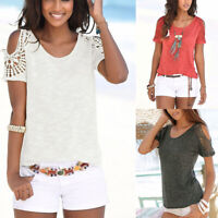 Womens Short Sleeve T-Shirts Tops Cut Out Cold Shoulder Summer Beach Shirts Tee