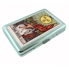Tarot Card D16 Silver Metal Cigarette Case RFID Protection Wallet XIX The Sun