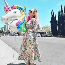 L Rainbow Unicorn Horse Inflatable Foil Balloon Birthday Party Room Decor NEW GW