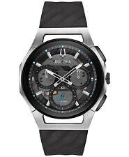 Bulova Curv 98A161 Men's Chronograph Grey Dial Rubber Strap 44mm Case Watch