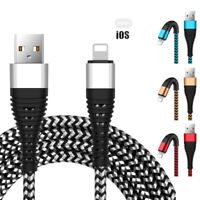 1 ~ 3M Resistencia Trenza Micro USB C Lightning 2A Cable de Carga para Iphone 8