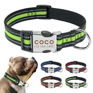 Reflective Nylon Custom Dog Collars Personalized Pet ID Nameplates Engraved Free