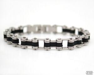 Herren Armband Edelstahlarmband Silber Schwarz Kautschuk Armkette Schmuck OGD78