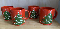 Vtg Waechtersbach West Germany Christmas tree 🎄 W/ Candles Coffee Mug Set of 4