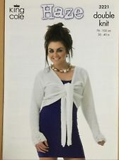 KNITTING PATTERN Ladies Tie Front Cardigan & Wrap Over Top King Cole 3221 NEW