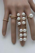 Look Fashion Jewelry Imitation Pearl Beads Women Gold Metal Set 5 Rings Elegant