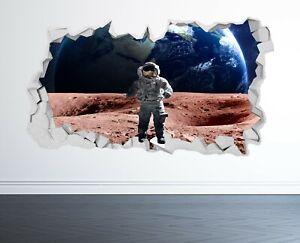 ASTRONAUT WALL STICKER 3D LOOK - MOON PLANET GALAXY STARS BOYS BEDROOM  Z1021