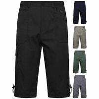 NEW MENS ELASTICATED WAIST CARGO COMBAT LONG 3/4 SHORTS SUMMER COTTON PANTS M6XL