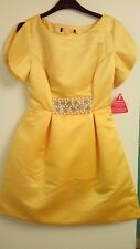 New Ladies Yellow Petal Sleeve Party/Bridesmaid/Prom Dress Size 8
