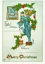 REPRO CHRISTMAS GREETING postcard:   CHILD  & TELEPHONE
