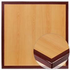 """24"""" Square High-Gloss Cherry / Mahogany Resin Table Top with 2"""" Thick Drop-Lip"""
