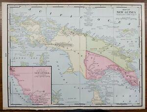 "Vintage 1902 NEW GUINEA  Map 14""x11"" Old Antique Original ARAWA LAE PAPUA KOKOPO"