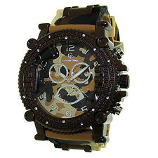 MENS ICED OUT BROWN CAMOUFLAGE CAPTAIN BLING ICE NATION WATCH WITH BULLET BAND