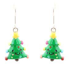 Zest Cute Smiley Christmas Tree Character Drop Earrings for Pierced Ears Green